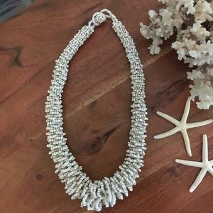 Boutique cream beaded statement necklace.